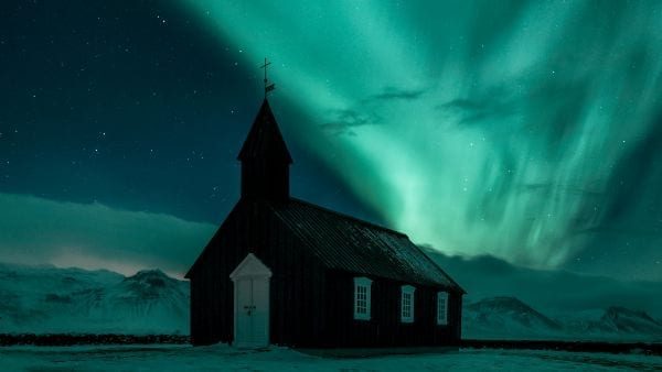 church and northern lights