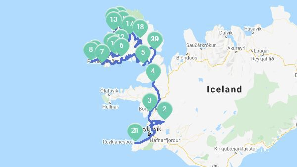 Map of iceland and itinerary