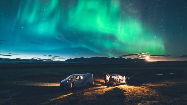 Northern Lights and Camper
